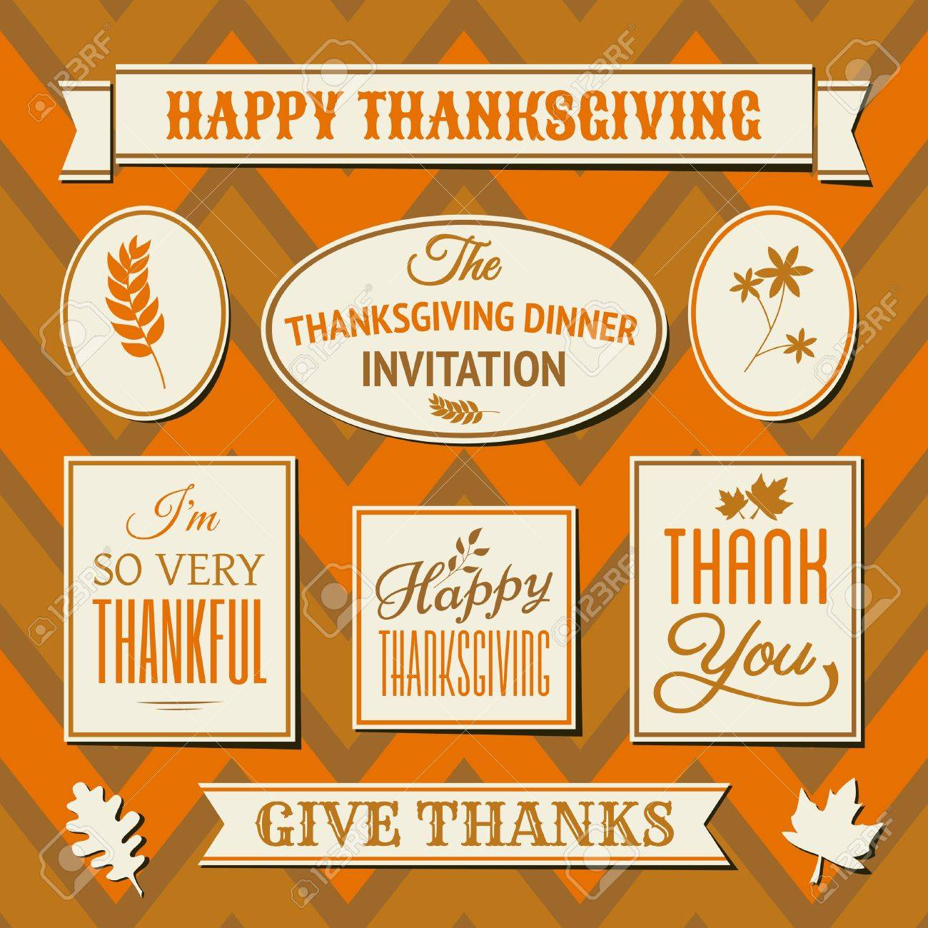 A set of Thanksgiving day labels and tags against seamless chevron background. Stock Vector - 22162985