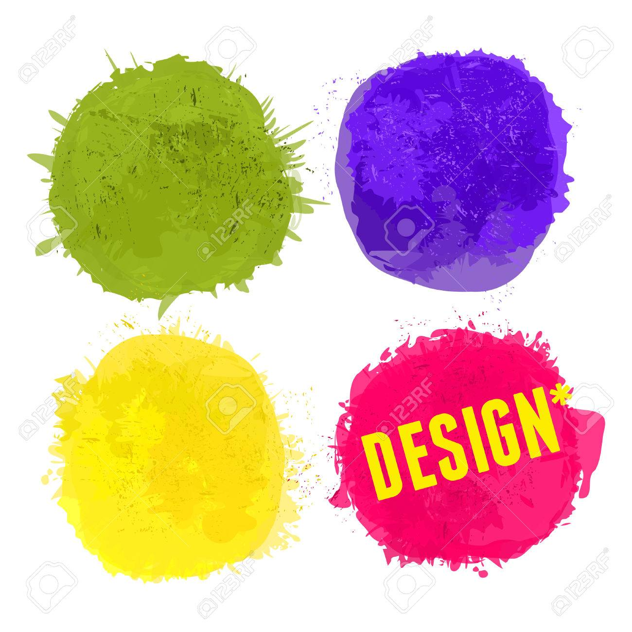 A set of colorful splatters with copy-space isolated on white. Stock Vector - 22245045