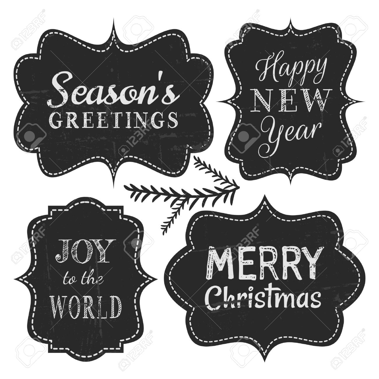 Chalkboard style vintage labels for Christmas and New Year, isolated on white background. Stock Vector - 23516033