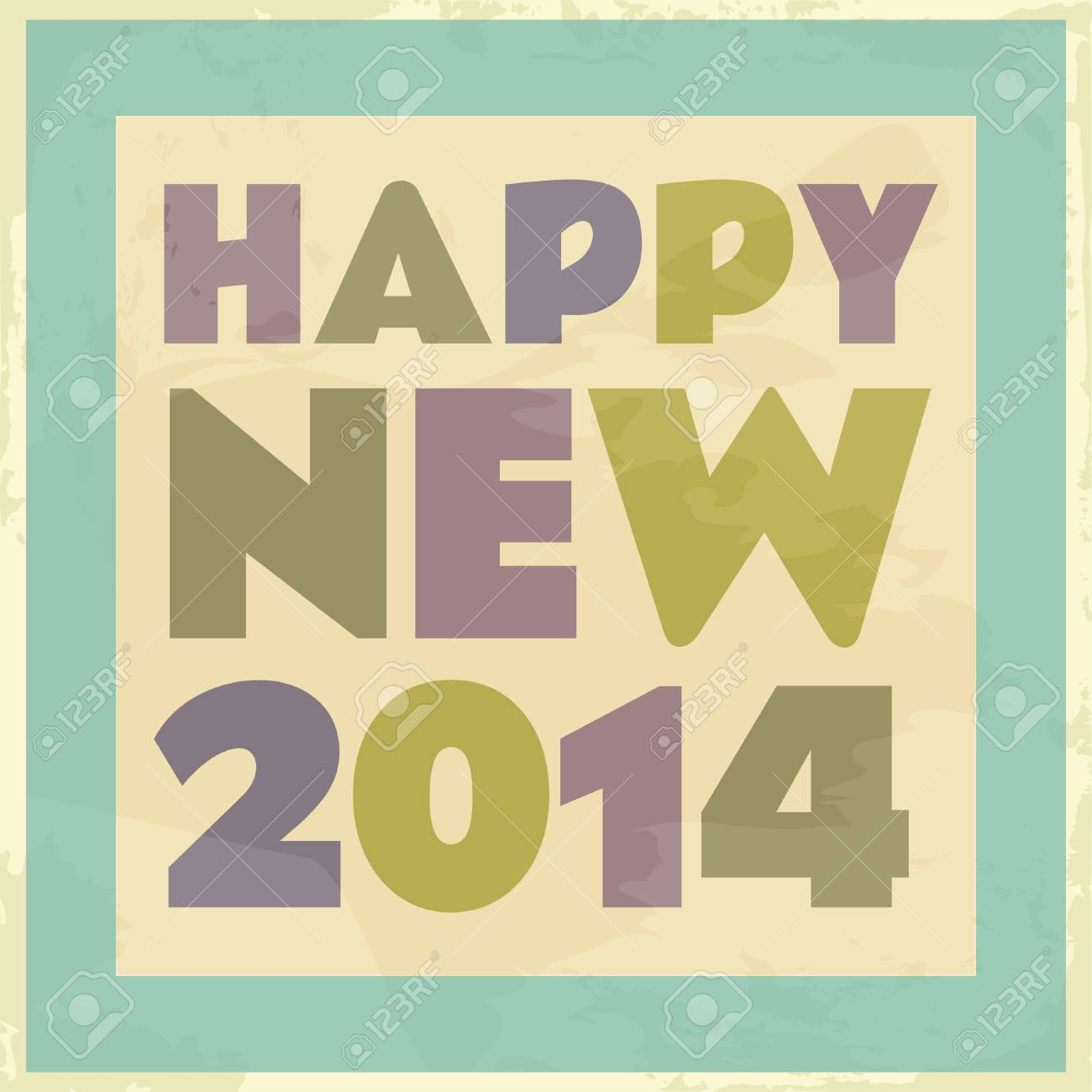 Happy New 2014 vintage style card. Stock Vector - 23516168