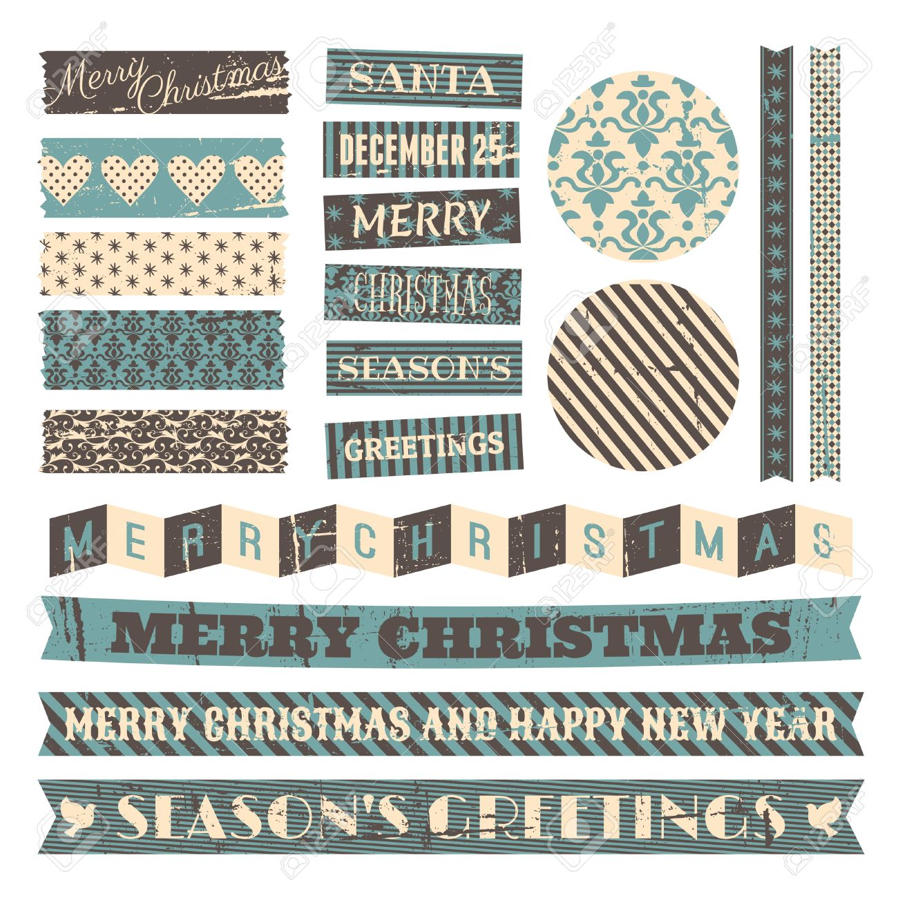 A set of vintage design elements for Christmas isolated on white. Stock Vector - 23516183