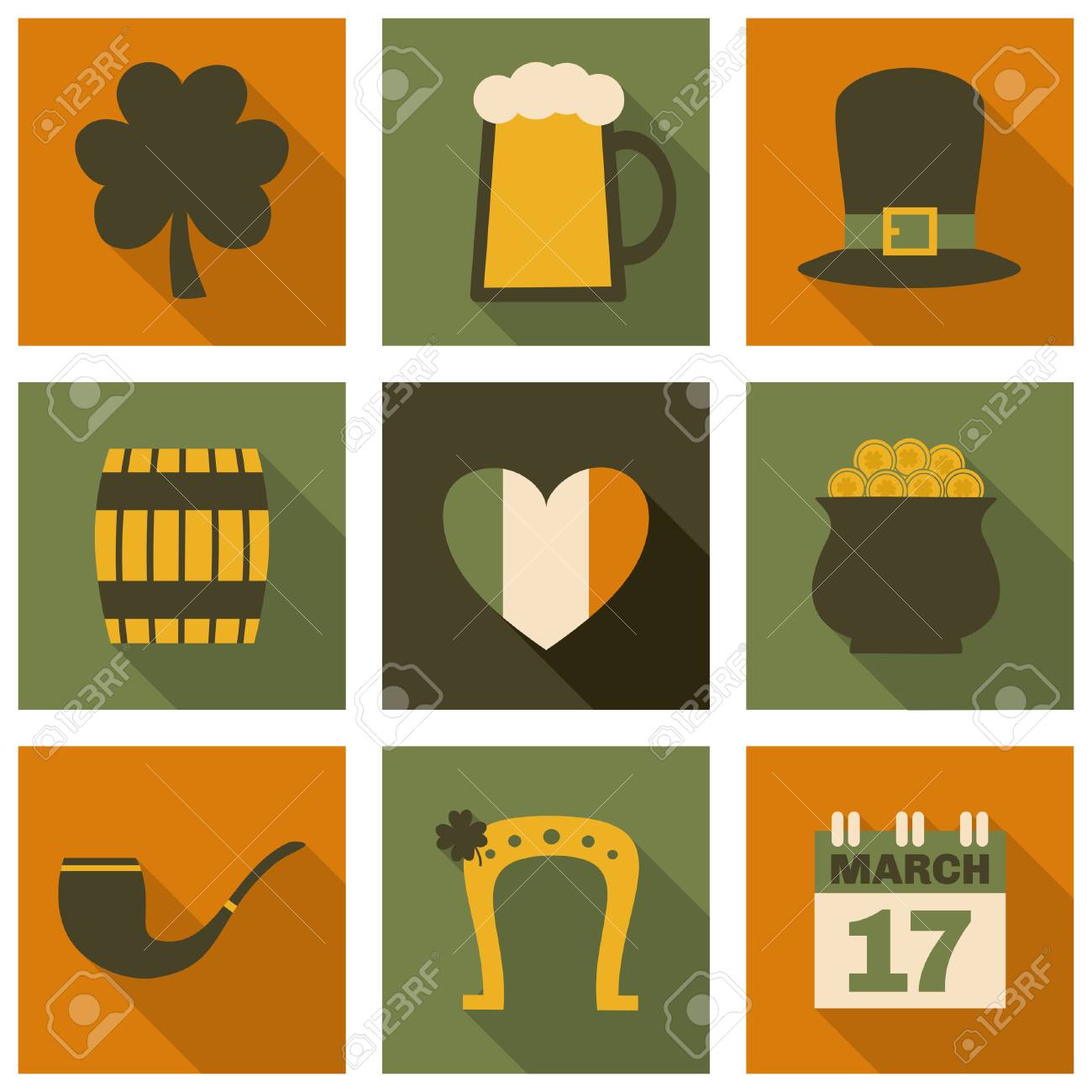 A set of flat design long shadow icons for St. Patrick's Day, isolated on white. Stock Vector - 25867441