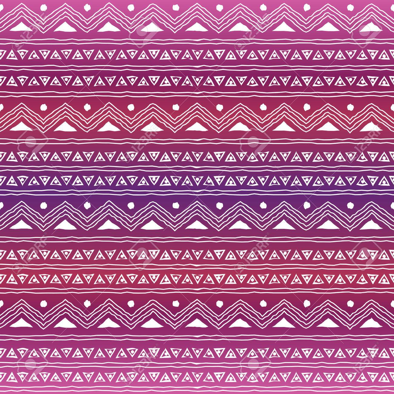 Seamless Geometric Pattern With Ethnic Motifs Against Purple ...
