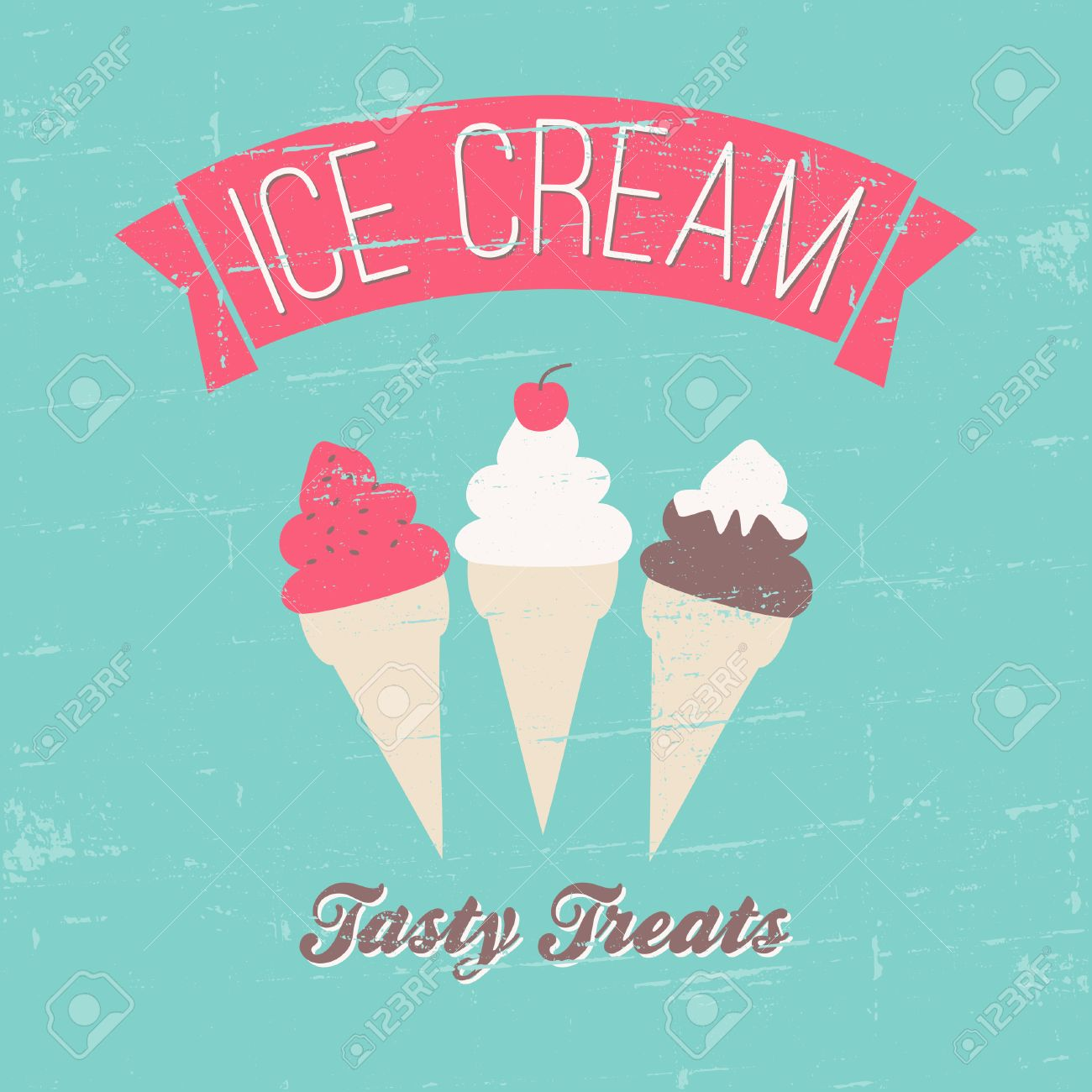 Retro Style Ice Cream Poster In Blue, Pink And Brown. Royalty Free ...