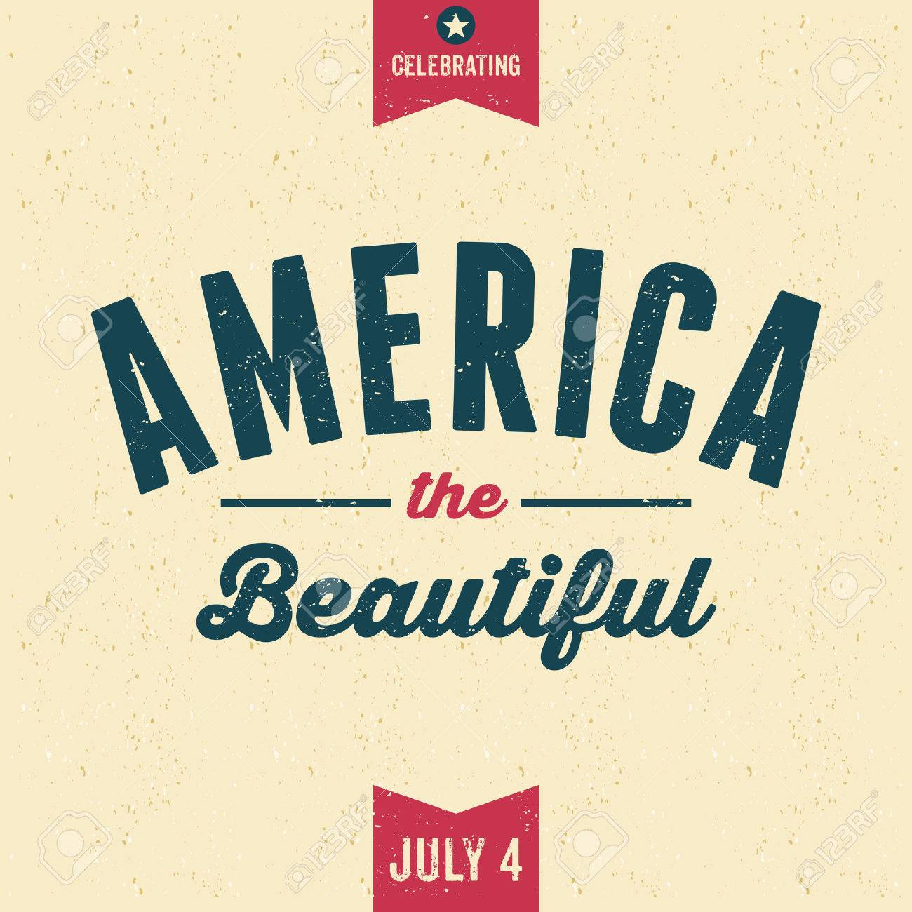 Vintage Style Old Paper Greeting Card For Independence Day America
