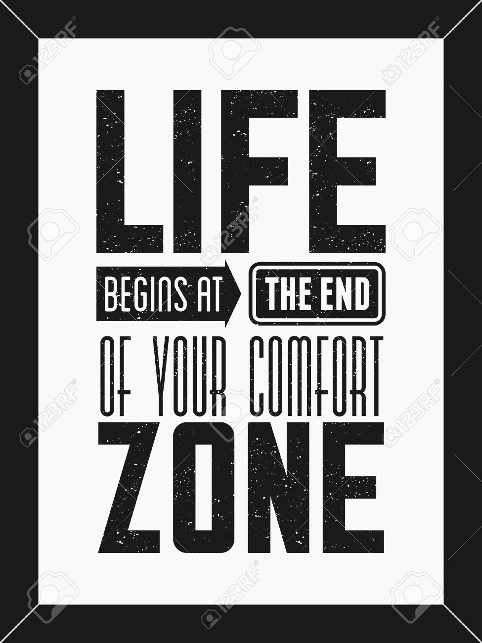Poster design monochrome - Inspirational Text Design Minimalist Poster In Black And White Life Begins At The End Of