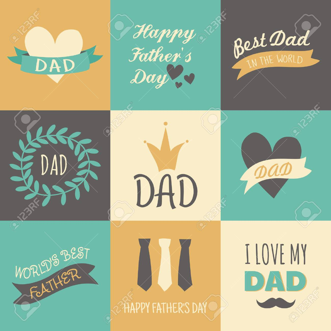A set of greeting cards for fathers day royalty free cliparts a set of greeting cards for fathers day stock vector 29601857 m4hsunfo