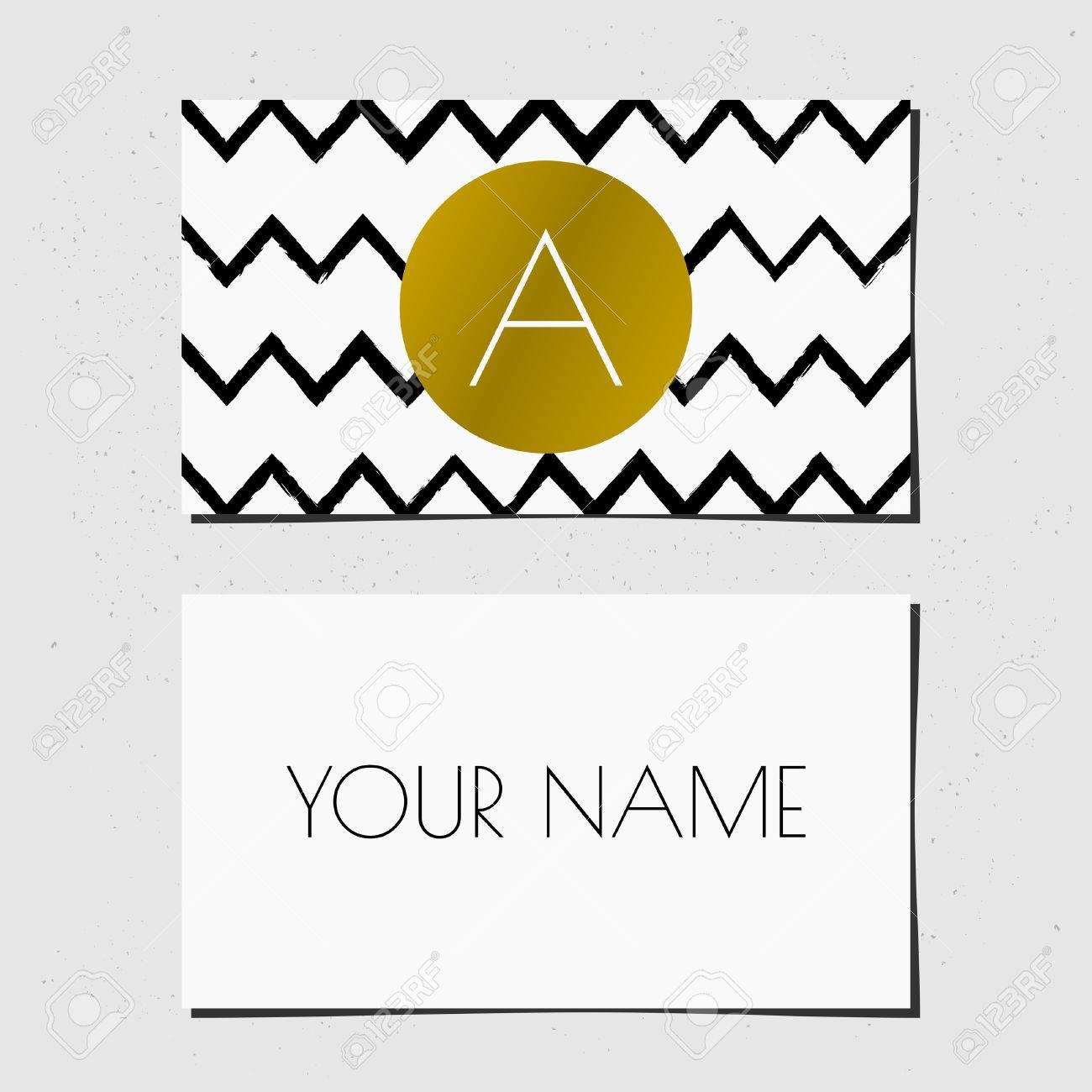 Modern Business Card Template Design. Golden Circle With Monogram ...