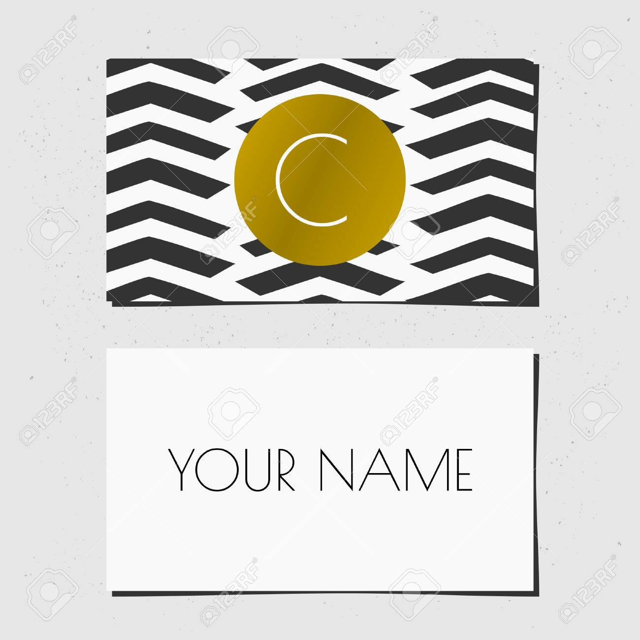 Modern business card template design golden circle with monogram modern business card template design golden circle with monogram letter on a black and white pronofoot35fo Images