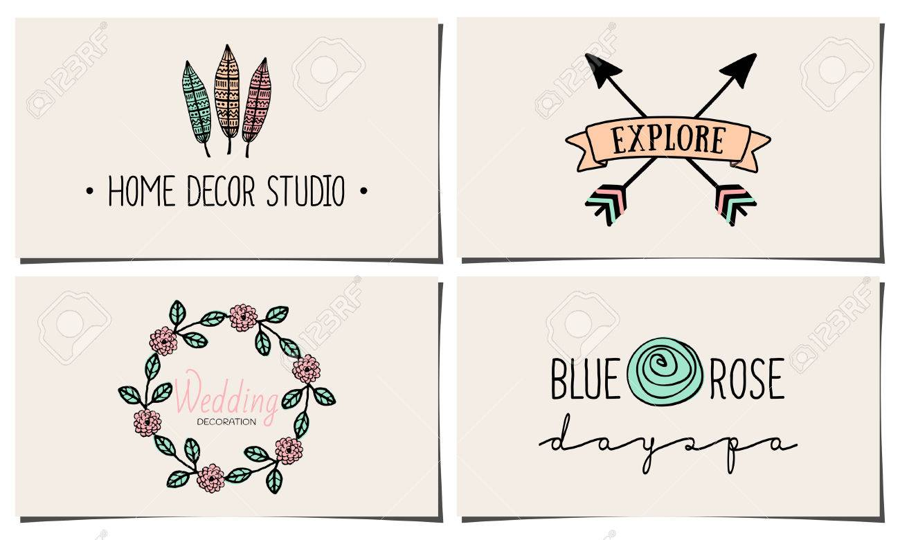 A Set Of Four Stylish And Elegant Business Card Templates. Hand ...
