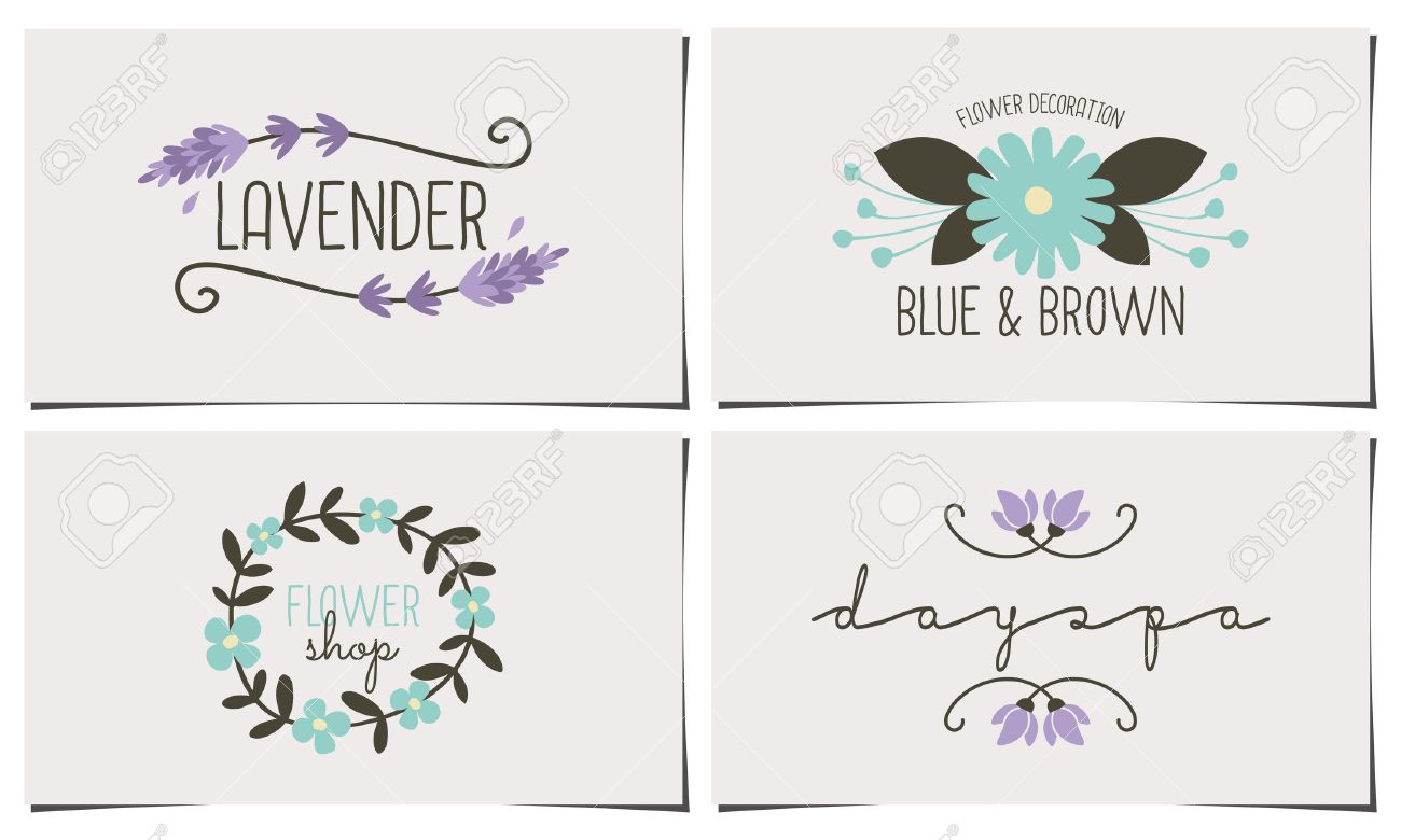 A set of four stylish and elegant business card templates hand a set of four stylish and elegant business card templates hand drawn floral design elements reheart Choice Image