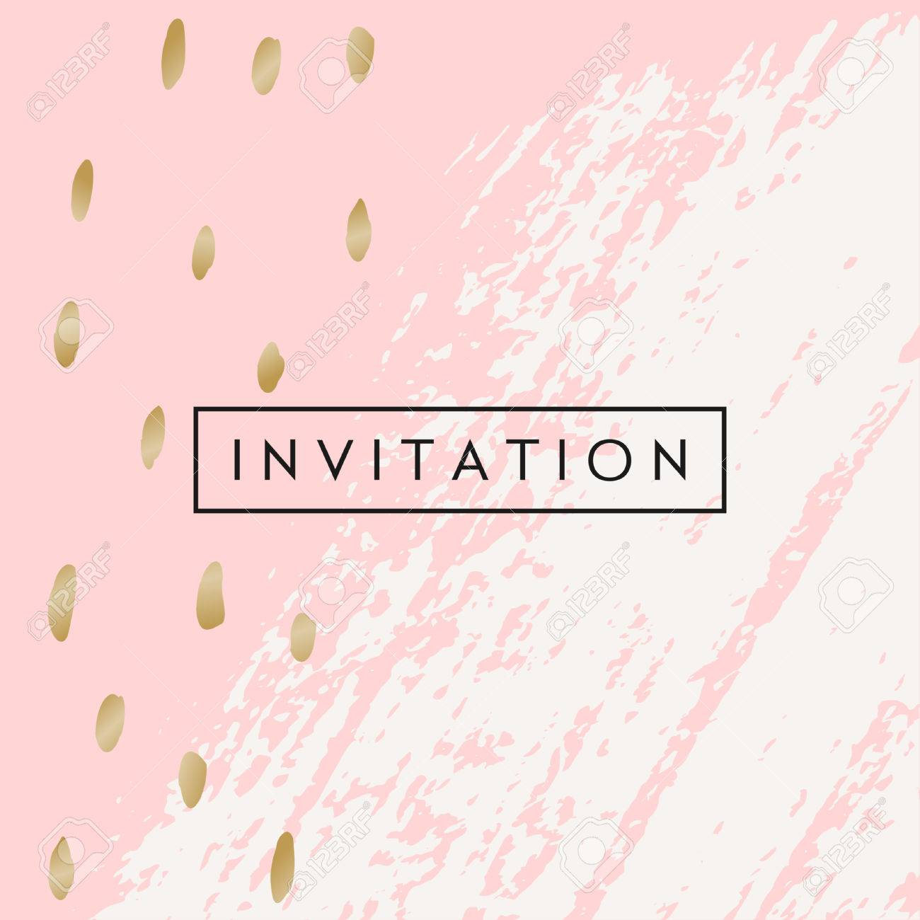 Hand Drawn Brush Strokes Invitation Designs Pastel Pink Offwhite