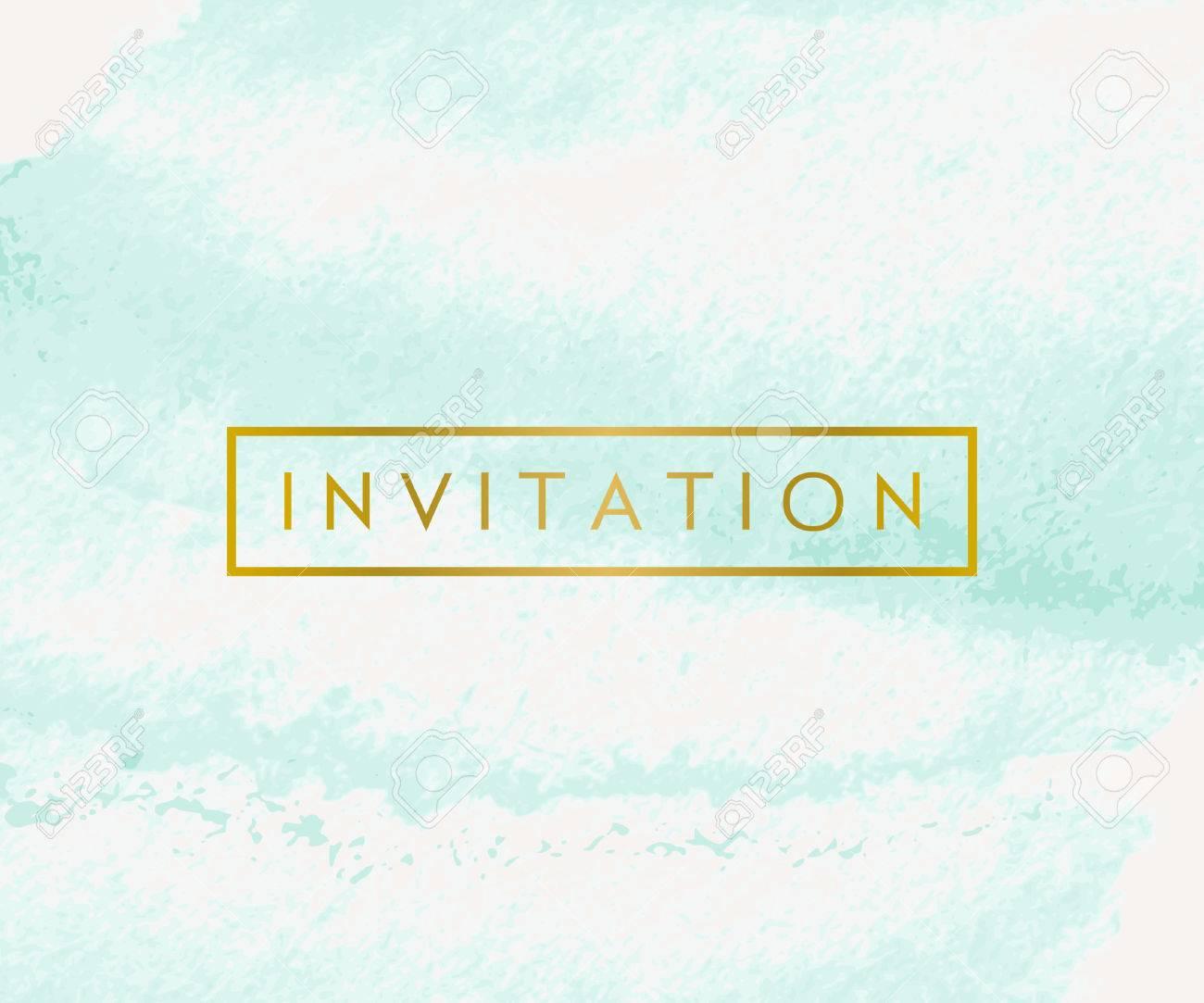 Hand Gezeichnet Aquarellpinselanschläge Einladung Design. Türkis Blau Und  Goldene Farbpalette. Das Moderne Und