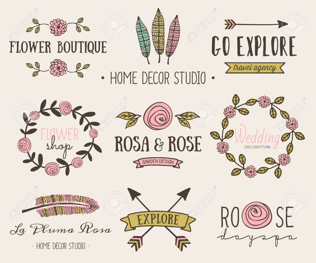 A Set Of Hand Drawn Vintage Style Design Elements. Modern And ...