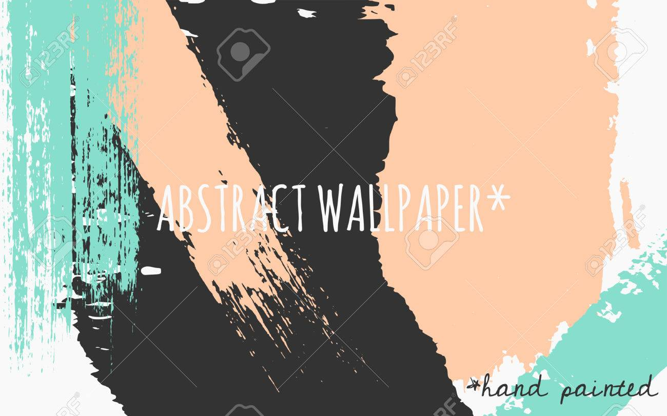Hand Drawn Brush Strokes Wallpaper Design Pastel Orange Green And Black Color Palette