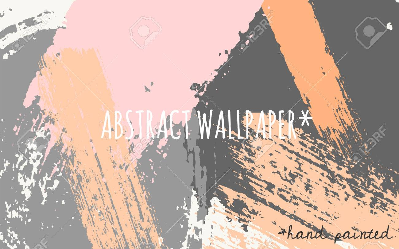 Hand Drawn Brush Strokes Wallpaper Design Pastel Orange Pink Light And Dark Gray