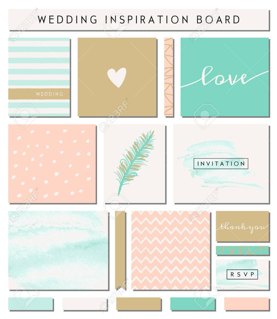 A Set Of Wedding Invitation Templates, Seamless Patterns, Ribbons ...