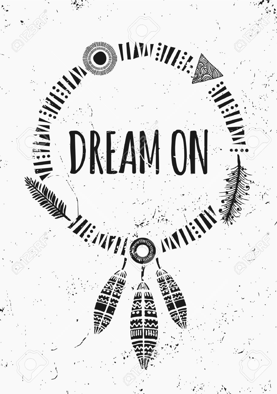 Poster design monochrome - Black And White Inspirational Poster Design Geometric Elements Dream Catcher Feathers Decoration