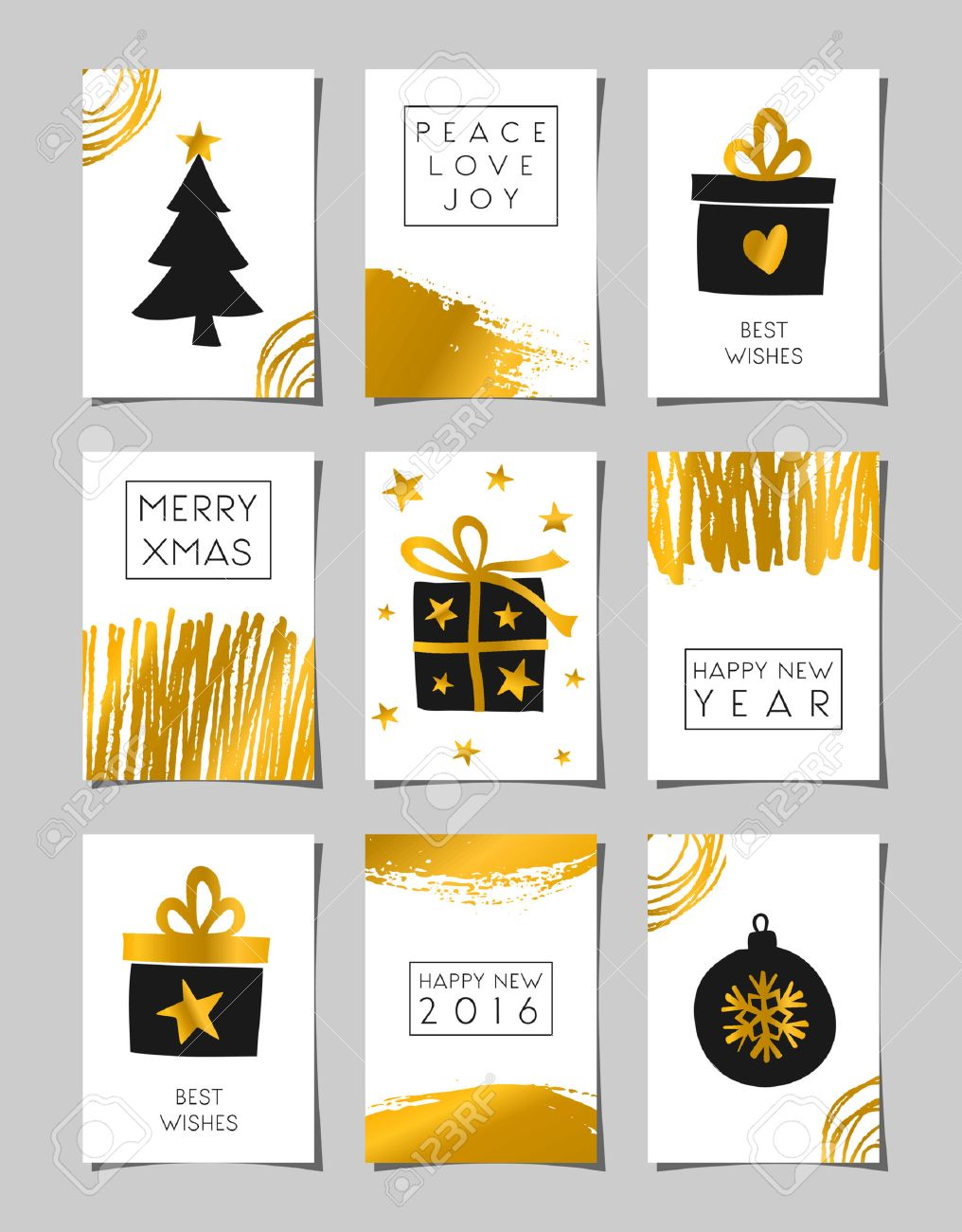 A Set Of Christmas Greeting Card Templates In Black White And
