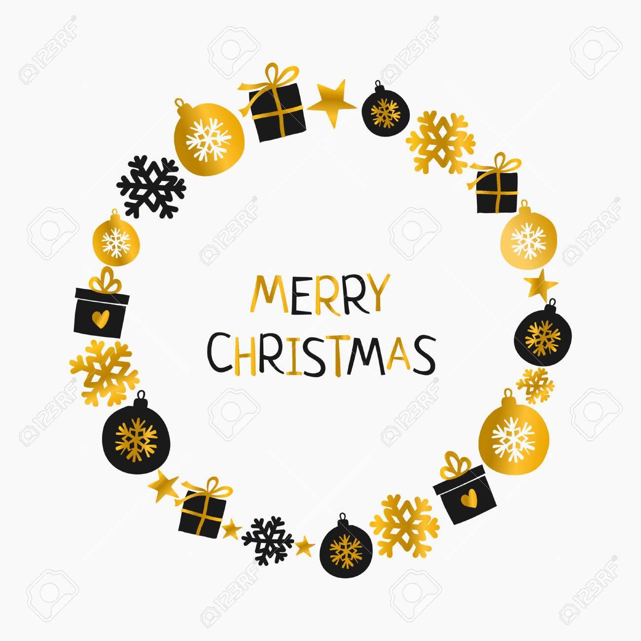 Diseno De La Tarjeta De Felicitacion De Navidad Con La Guirnalda De