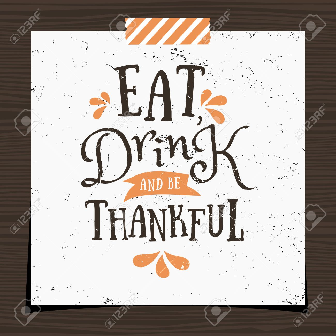 Thanksgiving Typographic Design Greeting Card Template Eat