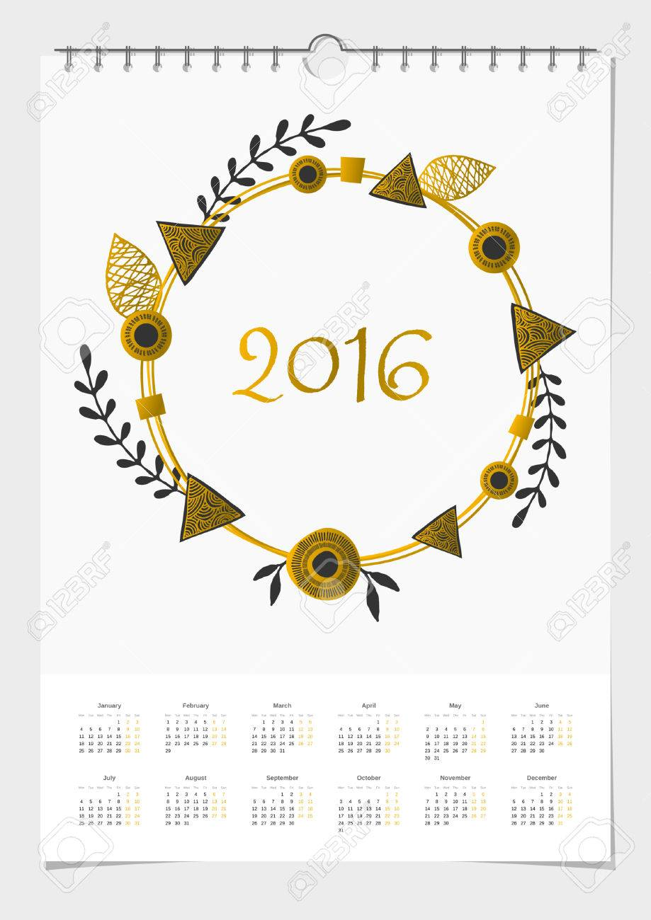 image relating to Wreath Printable titled 2016 calendar style template, A4 sizing, printable. Summary wreath..