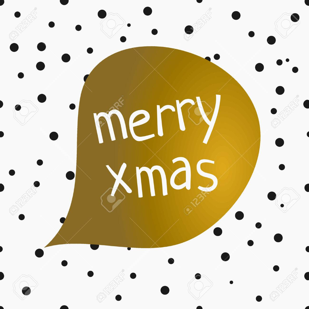 Christmas Greeting Card Design With Speech Bubble And Text Merry