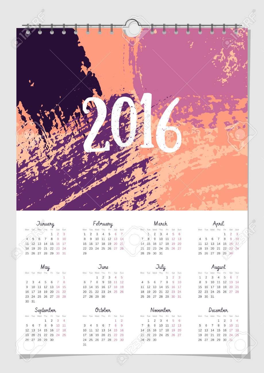 2016 calendar design template scalable to a4 size printable