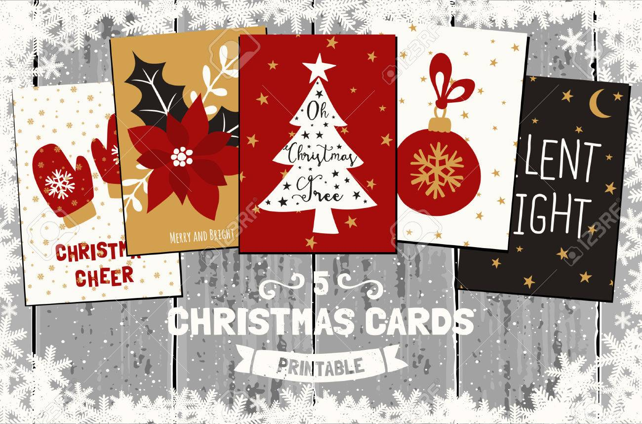A Set Of Five Printable Christmas Greeting Cards In Red, White ...