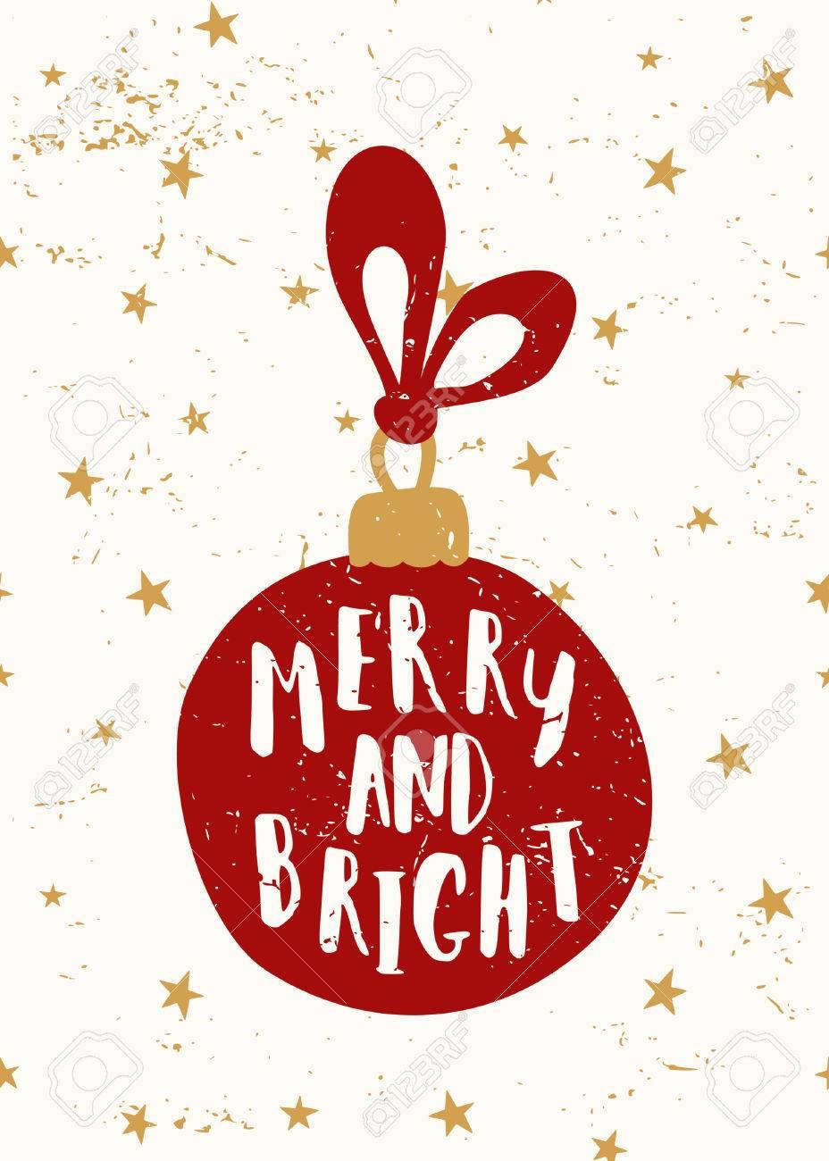Weihnachts-Grußkarte Vorlage Mit Einem Roten Weihnachtskugel Und Dem ...