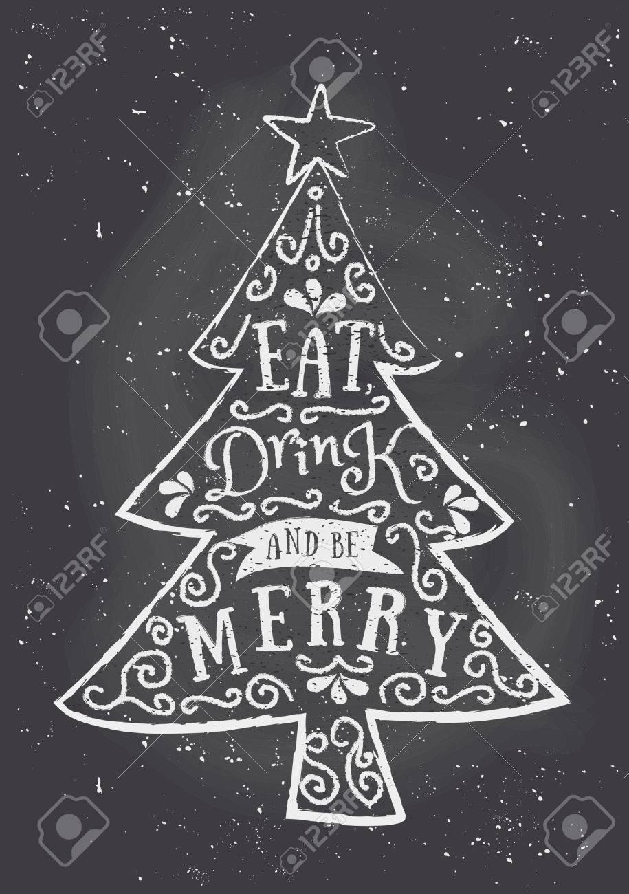 Tafel-Stil Weihnachts-Grußkarte Vorlage Mit Weihnachtsbaum Und Text ...