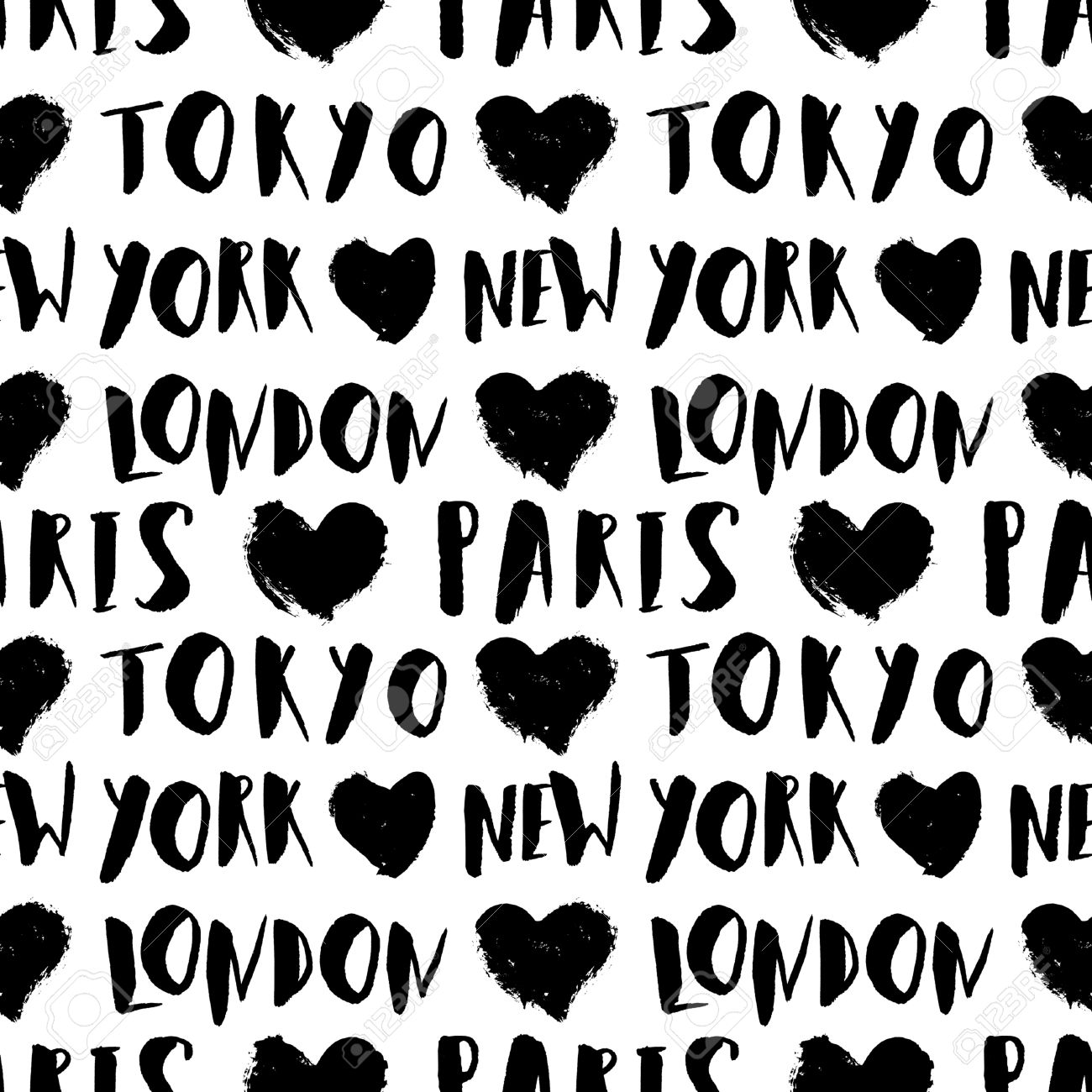 Typographic style seamless repeat pattern with hand lettered city names in black and white. Seamless travel background, greeting card template, poster, wrapping paper. - 51265337