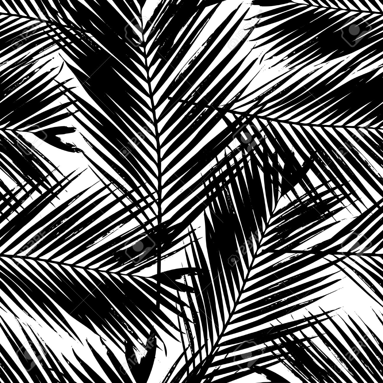 Seamless repeating pattern with silhouettes of palm tree leaves in black on white background stock
