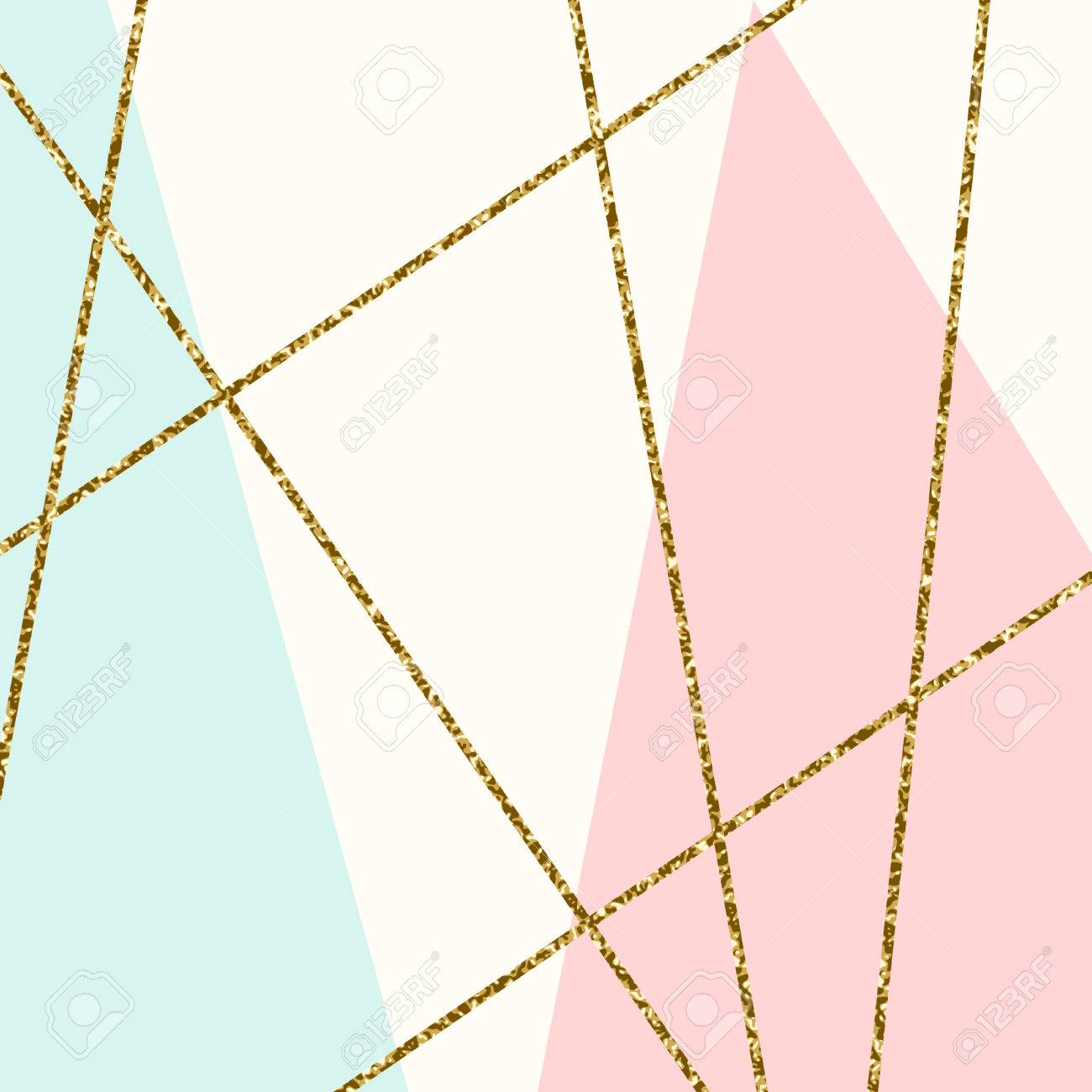 Abstract geometric composition in light blue, cream, gold glitter and pastel pink. Modern and stylish abstract design poster, cover, card design. - 65013526