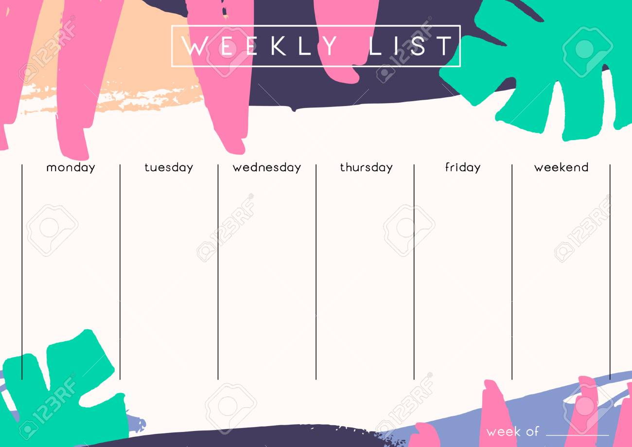 photograph about Weekly Planner Printable named Printable weekly planner template design and style adorned with hand..