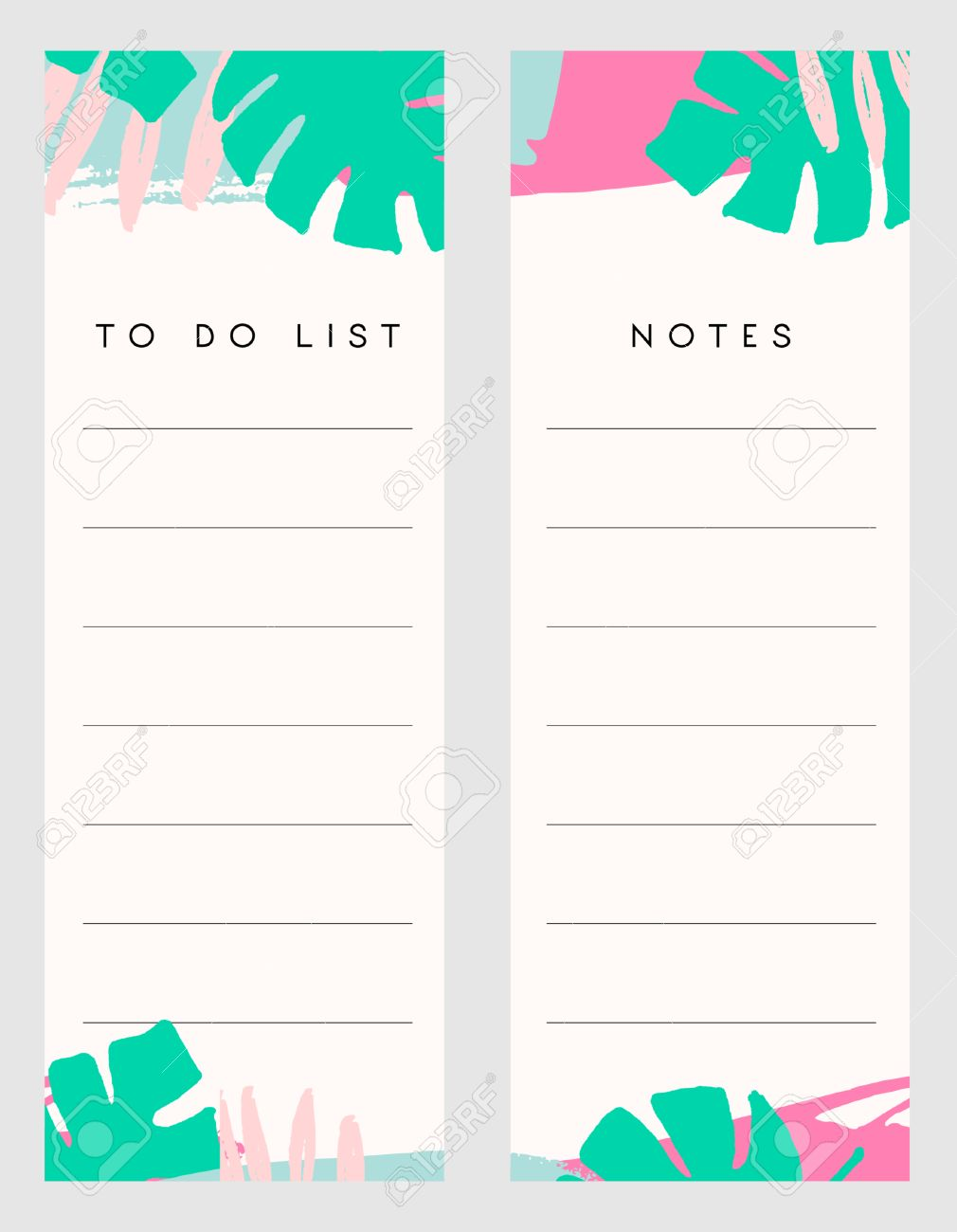 printable notes and to do list template designs decorated with hand drawn green tropical leaves and
