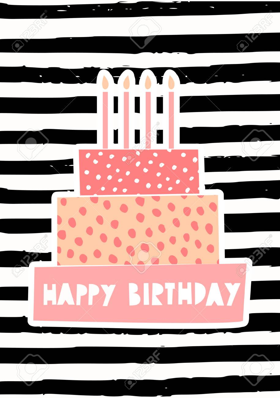 Greeting Card Template With A Cute Birthday Cake Candles On Striped Pattern Background Stock