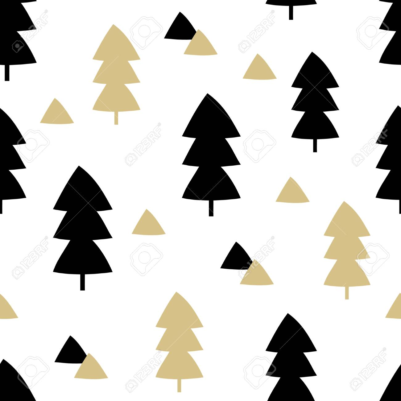 Seamless Repeating Pattern With Christmas Trees And Triangle Shapes In Black Gold On White Background