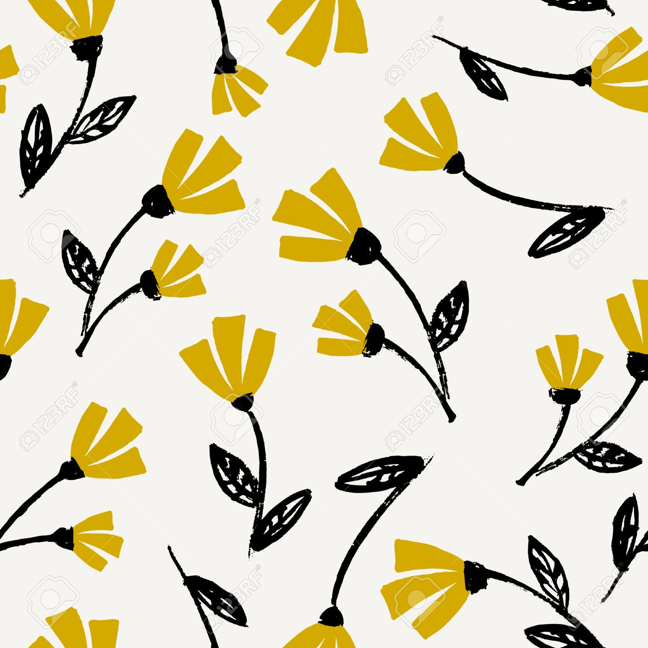 Seamless Repeat Flowers Pattern In Black Mustard Yellow And