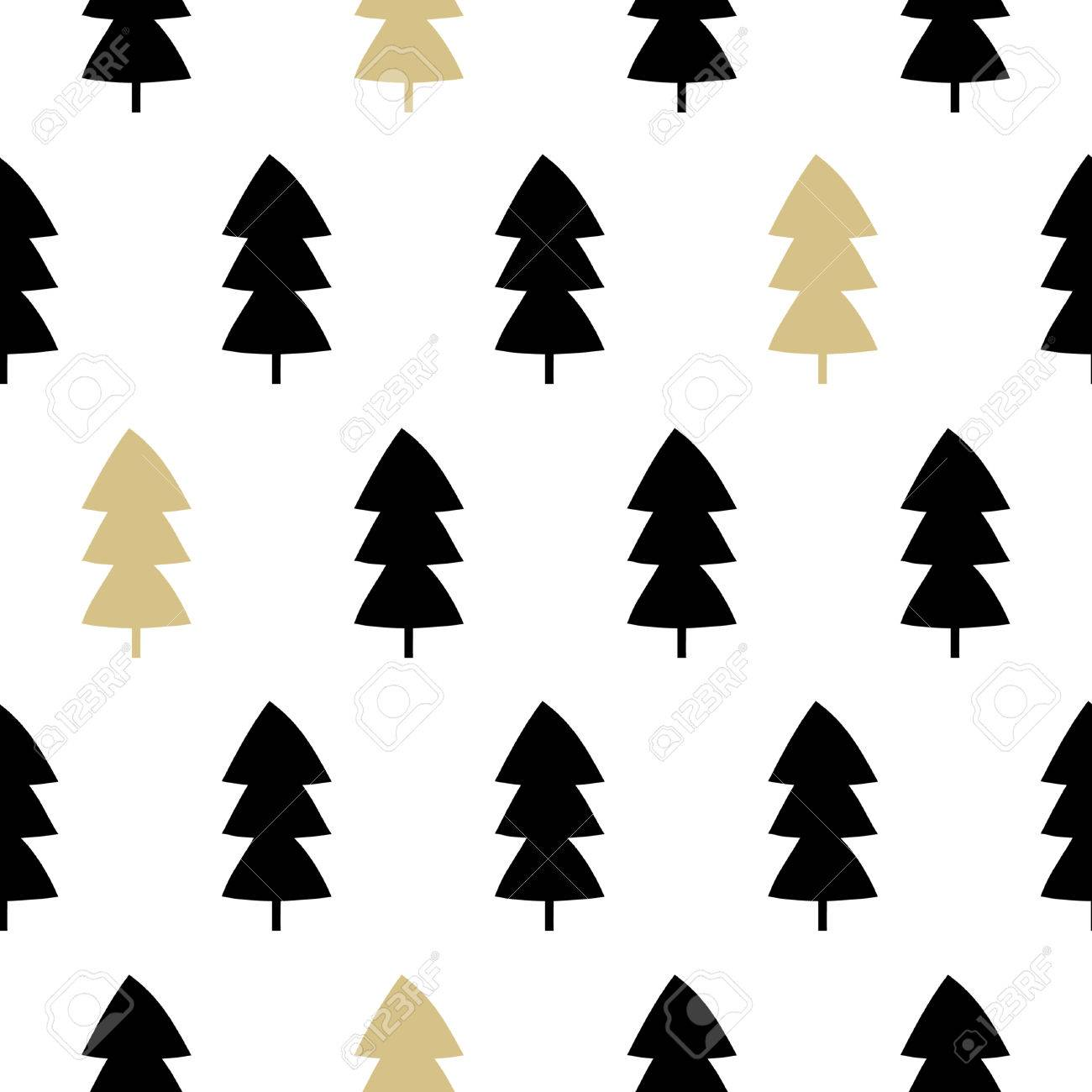 Seamless Repeating Pattern With Christmas Trees In Black And Royalty Free Cliparts Vectors And Stock Illustration Image 66071773