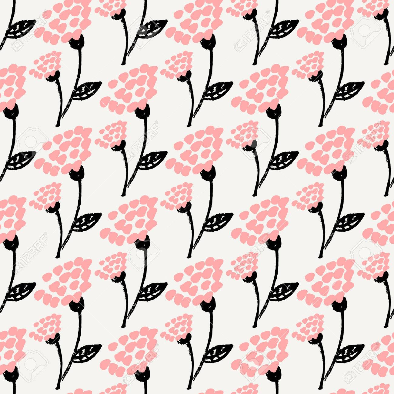 Seamless Repeat Flowers Pattern In Black Pastel Pink And Cream