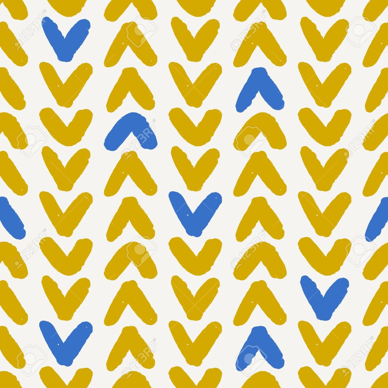 Hand Drawn Seamless Chevron Pattern In Blue, Yellow And Cream ...