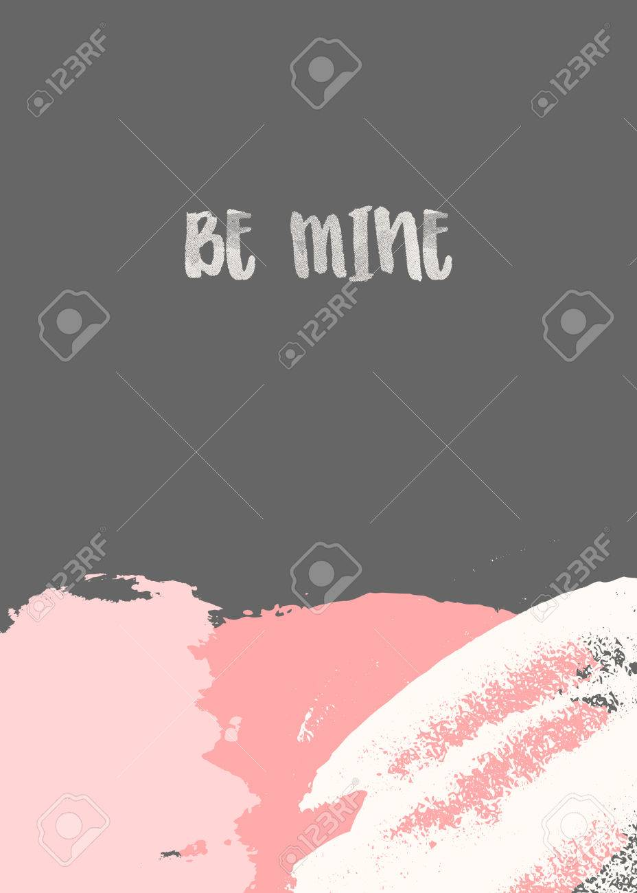 Creative Greeting Card Template For Valentines Day With Abstract