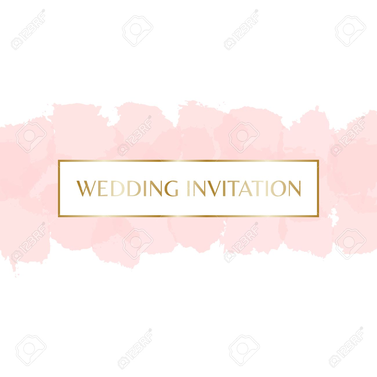 Wedding invitation design with gold letters message and pastel vector wedding invitation design with gold letters message and pastel pink watercolor brush strokes in the background stopboris Image collections