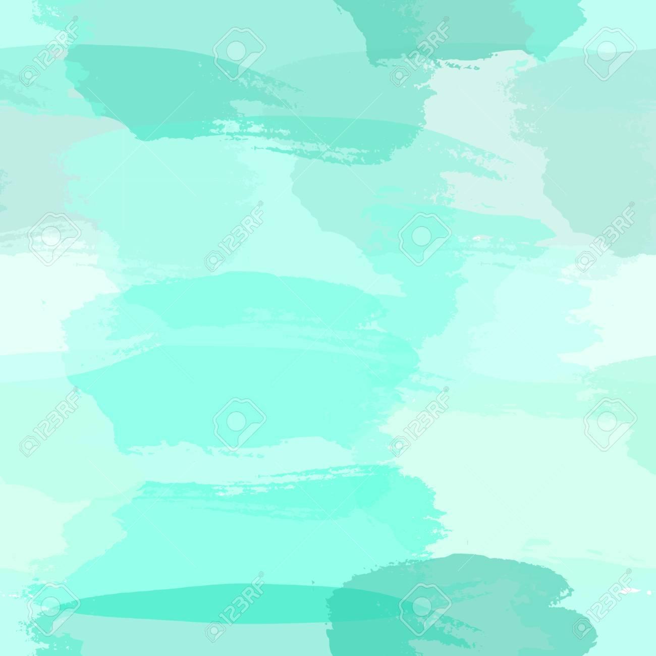 Modello Astratto Senza Soluzione Di Continuità Con Pennellate Trasparenti In Azzurro Verde Turchese E Verde Acqua Blu Imitando La Pittura Ad