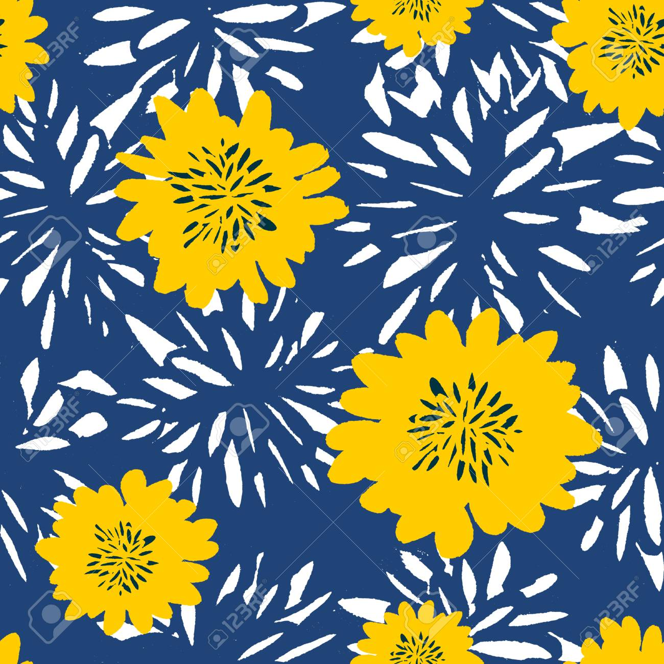 Seamless Repeat Pattern With Flowers In White And Yellow On Blue ...
