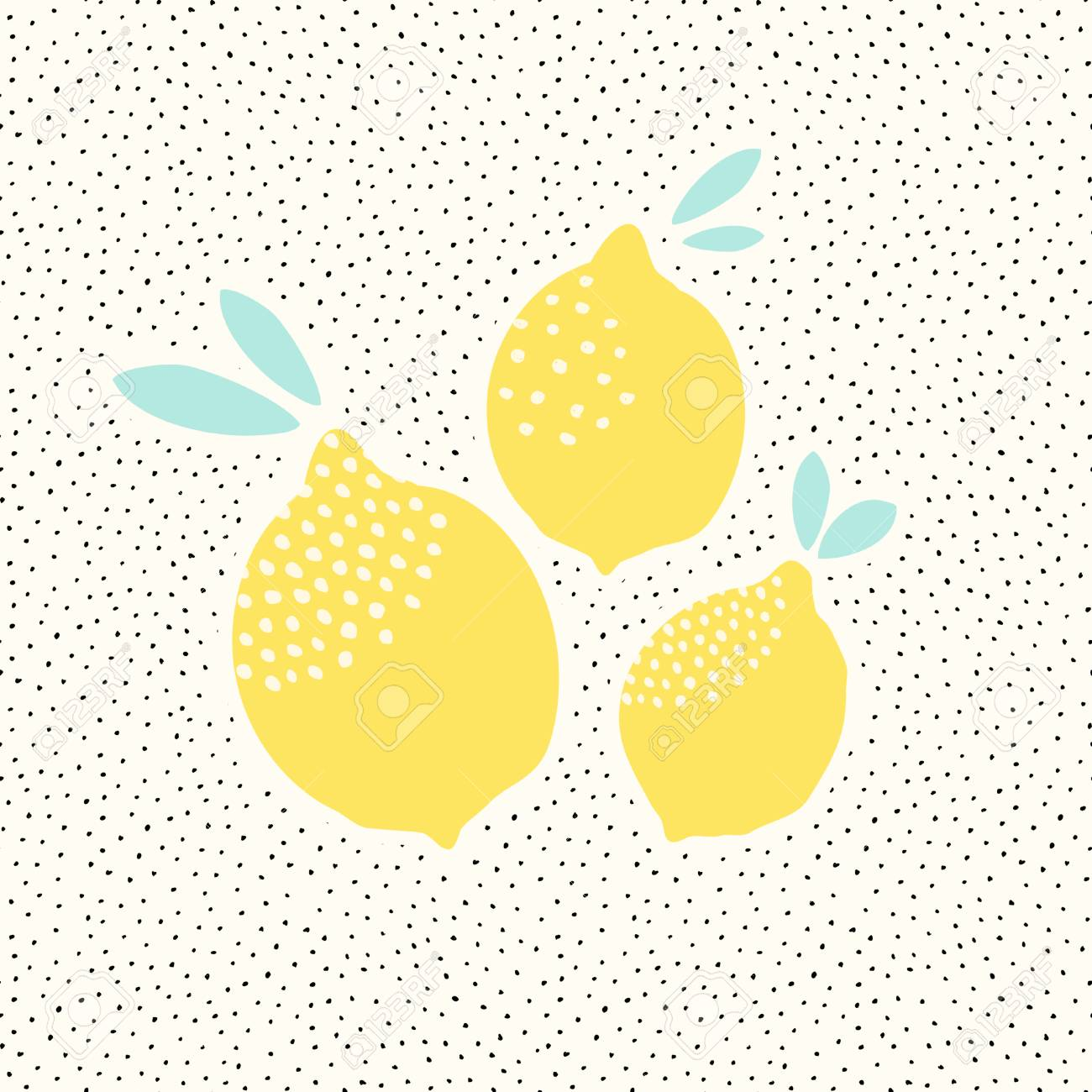 Cute Card Design With Lemons In Yellow On Black And White Dots ...
