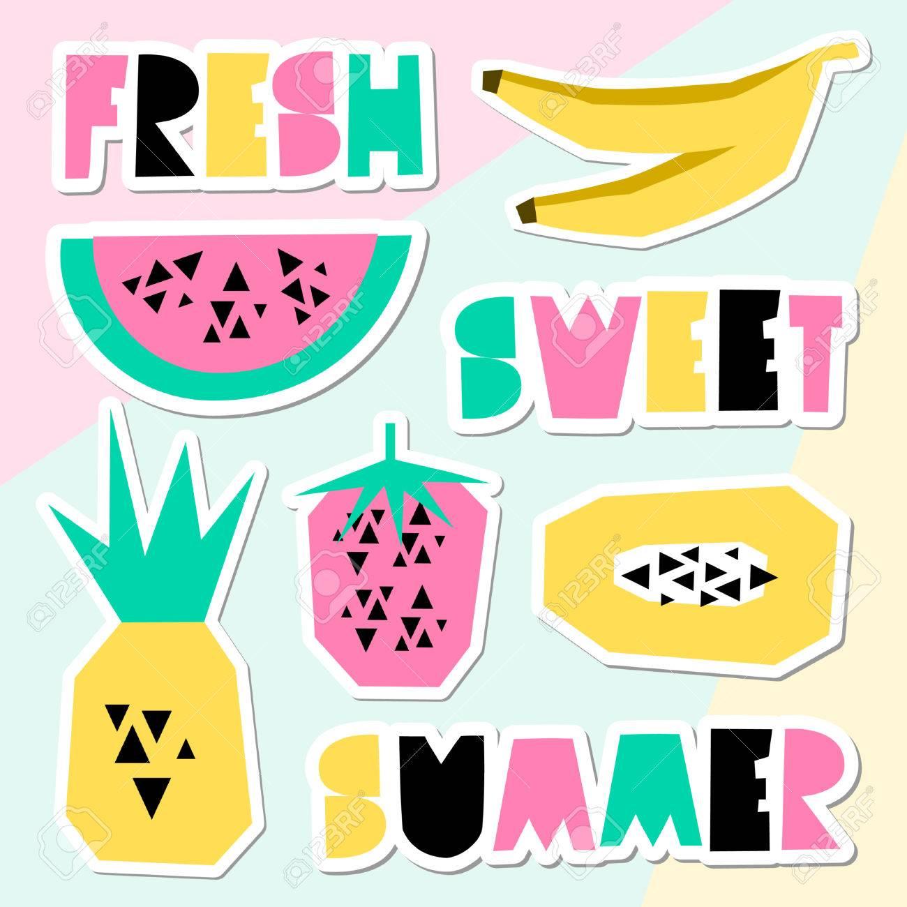 9ec8834c0 Un conjunto de pegatinas geométricas de verano de estilo retro. Letras y  frutas decorativas en verde, rosado y amarillo en el fondo geométrico ...