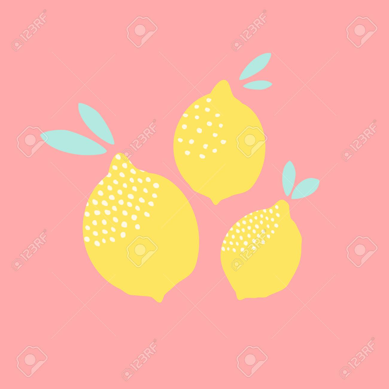 Cute Card Design With Lemons In Yellow On Pastel Pink Background ...