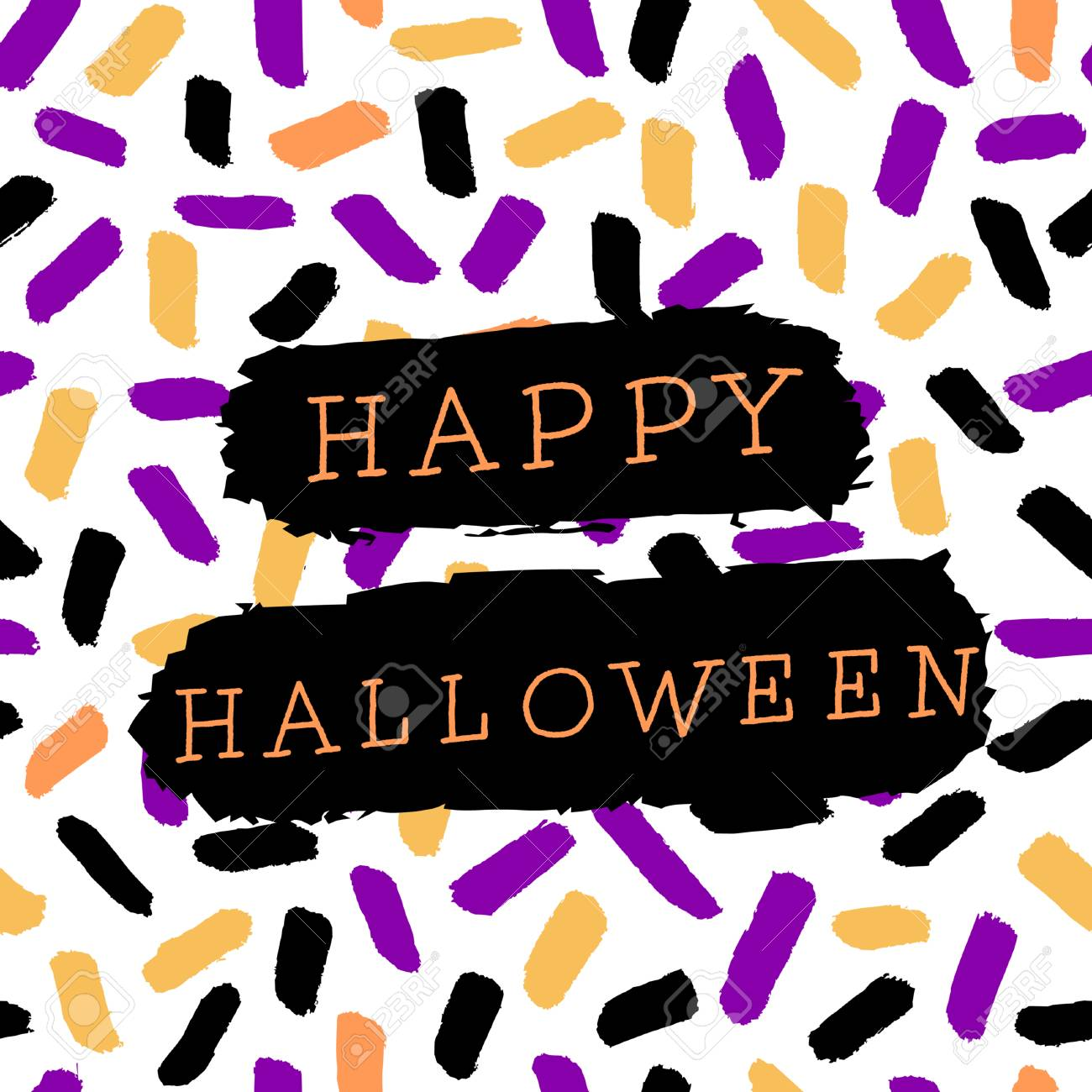 abstract halloween design with text on colorful memphis style pattern background poster brochure or